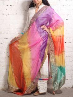Multi-Color Gota Patti Chiffon Dupatta