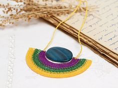 Crochet Pendant Necklace in Violet Green Yellow by PinaraDesign, $46.00
