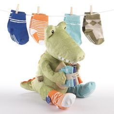 """""""Croc in Socks"""" Plush Toy Alligator and Socks for Baby by Baby Aspen 