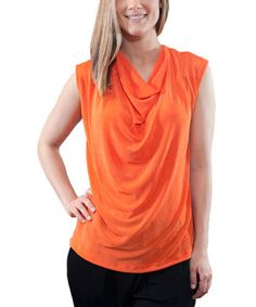 This Orange Cowl Neck Tank by Phyllis Emelda is perfect! #zulilyfinds   colors
