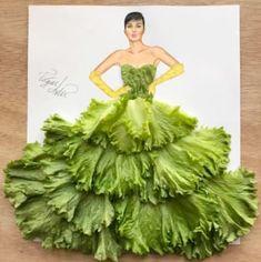 Romaine Lettuce Leaves Dress fashion art sketch by Edgar Artis. Fashion Design Drawings, Fashion Sketches, Image Tatoo, Arte Fashion, Paper Fashion, 3d Fashion, Deco Floral, Instagram Artist, Creative Artwork