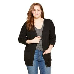 bdce5c606f665 Women s Plus Size Boyfriend Cardigan - Mossimo Supply Co.(Juniors )   Target