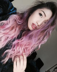 Pastel Lavender Lilac Pink Ombre hair with dark roots!  Insta: @_gab.riella