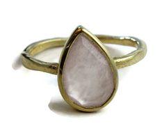 Rose Quartz  9x14mm Pear Shaped  Ring Vermeil by SilversmithLisa