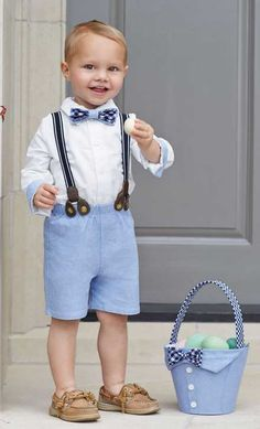 An adorable 3 piece chambray suspender set for infant and toddler boys. Perfect for Easter and spring photos this boys suspender short set comes with matching shirt and bow tie.