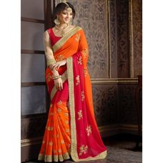 Beleaguer Orange, Red Georgette Designer Saree Comes with Red Color Banglori Silk Blouse. It Contained the work of Embroidery with Lace Border. The Blouse can be customized up to bust size 44