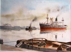 Vertrek in de vroege morgen. Boat Art, Steamers, Ship Art, Sailing Ships, Ships, Sailboat, Tall Ships