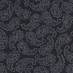 Paisley, Black Out by Blank Quilting, Black Floral Fabric, Black Fabric, 02254