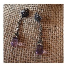 925 Sterling and Marcasite Amethyst Earrings 15% off if bundled QVC Jewelry Earrings