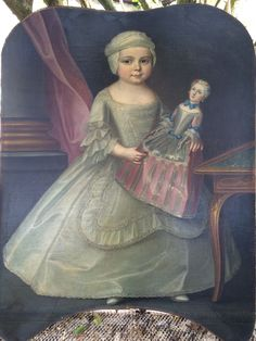Painting of a little girl with her doll style 1735
