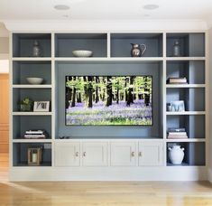 Tv wall unit, tv built in, wall units for tv, living room wall Living Room Built Ins, Living Room Wall Units, Home Living Room, Living Room Designs, Living Room Decor, Tv Wall Units, Built In Tv Wall Unit, Bedroom Wall Units, Built In Tv Cabinet