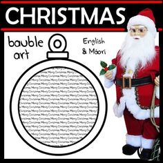 A fun Christmas art activity. Draw a picture on top of the text in the Christmas bauble. Use coloured pencils or watercolour paints so the text can still be seen. 2 Different Texts (repeated in bauble): ♦ Merry Christmas (English) ♦ Christmas Baubles, Christmas Art, Art Activities, Classroom Activities, Stocking Template, Coloured Pencils, Paper Lanterns, Pictures To Draw, Watercolour