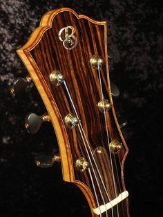 Koa Bound Archtop Guitar Headstock