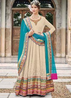 Stunning Cream Pure Georgette Lace Border Work Party Wear Salwar Kameez