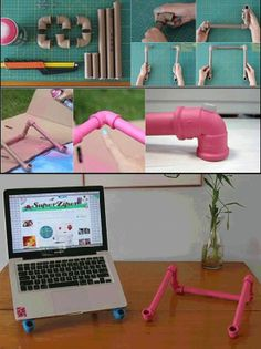 How to make laptop stand out of PVC Pipes Diy Craft Projects, Diy Home Crafts, Cute Crafts, Diy Home Decor, Diy Laptop Stand, Winter Diy, Diy Interior, Interior Design, Ideas
