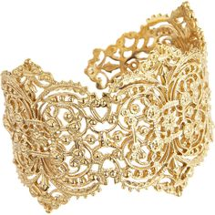 I A M by ILEANA MAKRI Gold Large Filigree Cuff ($995) ❤ liked on Polyvore