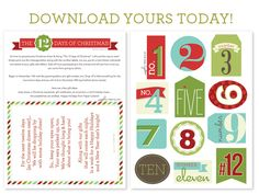 Countdown the 12 Days of Christmas Printables - #christmas #printables