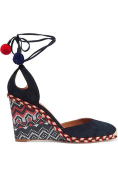 Wedge heel measures approximately 90mm/ 3.5 inches Navy suede Ties at ankle Designer color: Ink Made in Italy