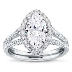 Split Shank Halo Setting for Marquise Cut Diamond with GIA Certified E VS1 Marquise Diamond center diamond