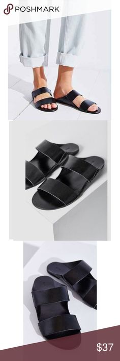 (Urban Outfitters) Robyn BDG boho slide sandals Sporty Modern Slide Sandals purchased from UO's brand labeled BDG. Crafted with vegan leather straps. Labeled a size 9 but fits like a 7.5 or an 8. Measures 10 inches from top to bottom. In good preowned condition! BDG Shoes Sandals