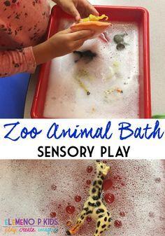 Zoo animal bath sensory play elemeno-p kids posts Zoo Activities Preschool, Zoo Animal Activities, Preschool Jungle, Animal Crafts For Kids, Educational Activities, Toddler Activities, The Zoo, Kids Zoo, Sensory Bins