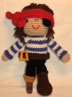 Pirate Doll - PDF amigurumi crochet pattern.