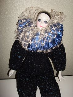 harlequin dolls | Porcelain Harlequin Perriot Clown Doll early by SterlingKitty