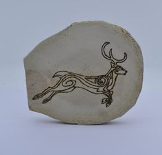 Wooden celtic coaster with a deer. For a mug by ArchdeansMagicShop