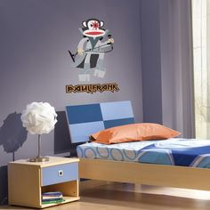 Julius the Monkey is a rock star! These modern wall sticker is sure to open your kids' imagination. This vinyl wall sticker from Paul Frank wall art collection feature Julius the monkey as a rock star in a live rock n' roll concert.