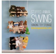 Stuffed animal swing. What an awesome way to keep stuffed animals all in one place! #kids #storage