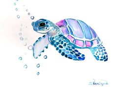 Sea Turtle, Original watercolor painting, 9 X 12 in, sea animal art, sea animals, watercolro animals, blue light purple painting