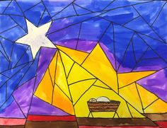 Nativity Star of Light Art Lesson for kids - Leah Newton Art Advent Art Projects, Christmas Art Projects, School Art Projects, Projects For Kids, Jesus In A Manger, Nativity Star, Christmas Art For Kids, Star Template, Color Crayons