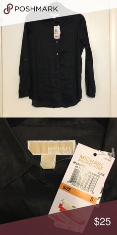 Brand New Michael Kors Black Button Down Brand New Never Been Worn Michael Kors Black button down women's shirt! MICHAEL Michael Kors Tops Button Down Shirts