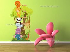 Muurstickers » Kinderkamer & Babykamer - Groeimeter Jungle Animals (1515nl)