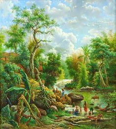 M.E.H.R. Van Den Kherkoff (1830-1908) - Kali Bangak di pegunungan Kawi, Malang (1891)