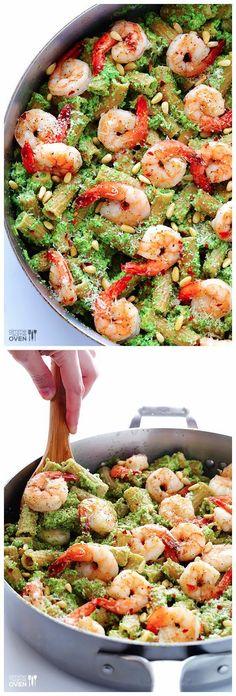 Shrimp Pasta with Broccoli Pesto