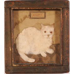 """Folky Cat Memorial  19th century, mixed media textile work, titled """"Augustus"""", framed. DOA 8.75 x 7.75 in."""