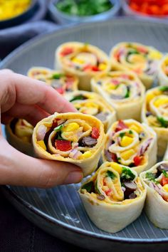 These Mexican tortilla roll ups are vegan and make a great easy snack or appetizer.   They're perfect to throw together before having guests over.