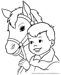 Horse coloring page | happy boy and his horse