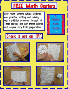 4 FREE addition math centers (K-1)