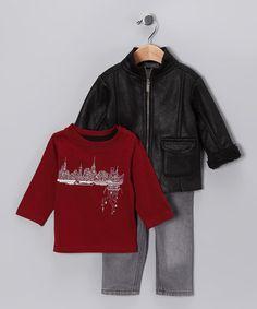 Black Shearling Jacket Set - Toddler by Kenneth Cole #zulily #zulilyfinds