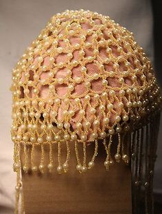 #eBay! http://r.ebay.com/meMBYL #Vintage 1960s Beaded Skull Cap Hat with Fringe and Faux Pearls
