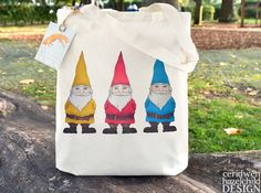 Garden Gnomes Fair Trade Tote Bag Reusable Shopper Bag Cotton Tote Shopping Bag Eco Tote Bag by ceridwenDESIGN http://ift.tt/1Ne6sd9