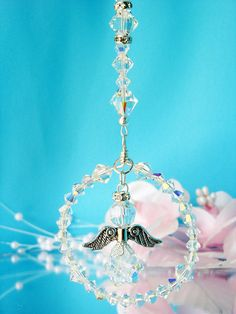 Crystal Guardian Angel Rear View Mirror by CrystalBlueDesigns Beaded bead as pendant or use ball shaped crystal for body