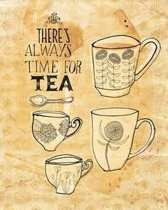Always time for tea 8x10 art print by lovelysweetwilliam on Etsy