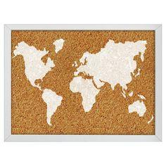 "Wall Pops! Cork Bulletin Board White Frame 23.5"" x 17"" - World Map"