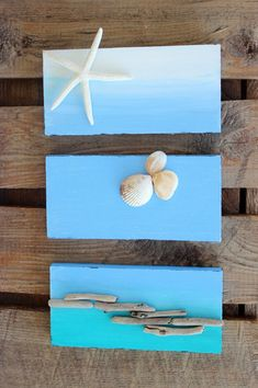 Original Ombre Beach Painting  Wall Hanging  by ElaLakeDesign, $40.00