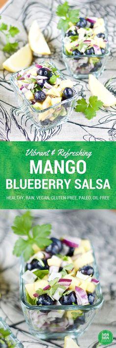Mango Blueberry Salsa | WIN-WINFOOD.com #healthy #raw #vegan #glutenfree #paleo