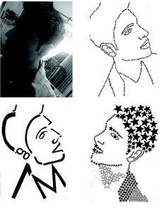 Taller de Diseño Grafico I. Autorretrato, sintesis tonal, lineal y tipografica. Santiago Martinez