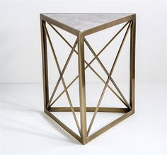 Interlude Triad Side Table.  geometric side table gets a sophisticated twist when gray marble and an antique brass finish come together. – Modish Store